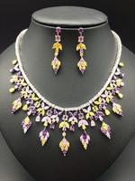 2019 NEW popular sweet multi purple aaa zircon necklace earrings female colnmnaris jewelry set exquisite wedding bride banquet