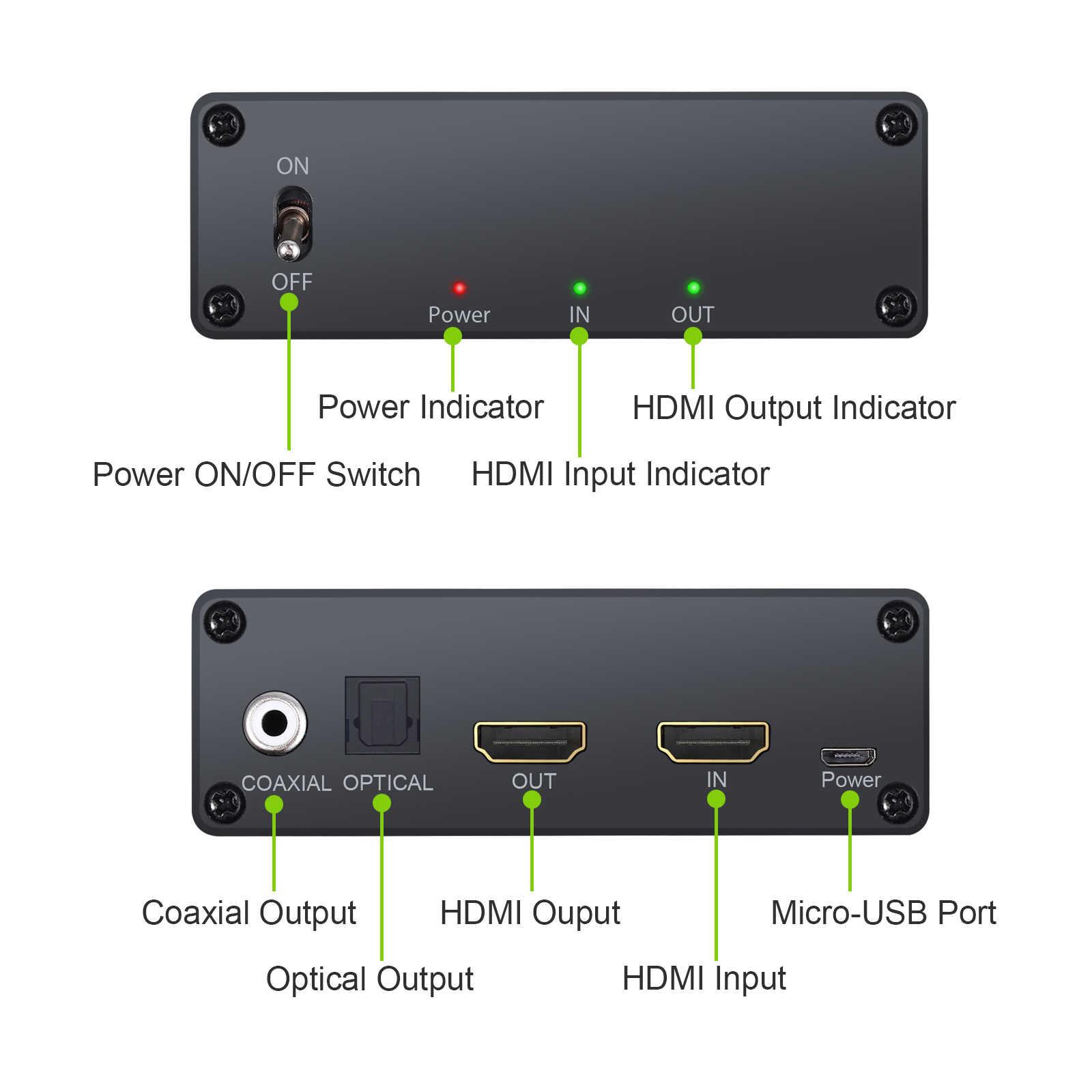 デジタルオーディオ抽出 HDMI に Hdmi 光 TOSLINK SPDIF + 同軸 Usb ケーブル & 電源スイッチのサポート 4 18K 3D
