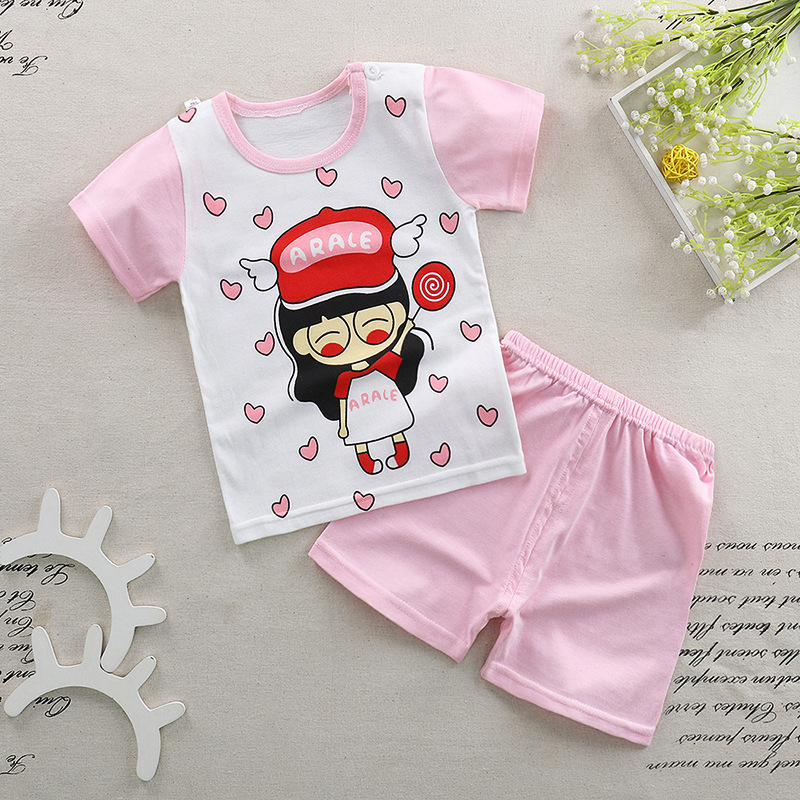 50aa93897 Baby Girls Baby Boys Sets Summer Boys and Girls Cotton T-Shirt ...