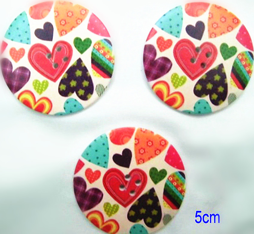 Wholesale lot Large heart Printing Four Holes Wood button DIY sewing 5cm 2inch