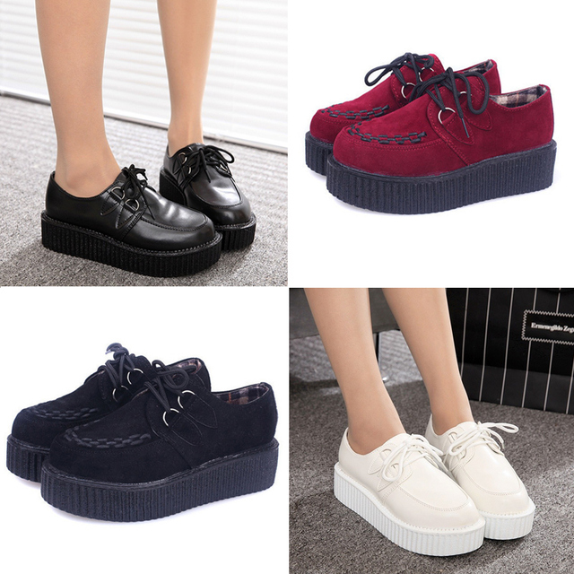 5cebd91d181 Creepers Shoes woman plus size 35-41 2018 fashion creepers platform women  Flats Shoes