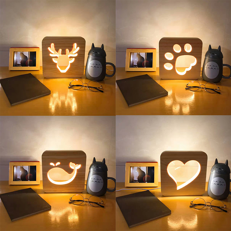 Creative 3D Simple Nordic Decorative Lights With Carved Pattern Atmosphere Small Night Lights Decoration De Maison