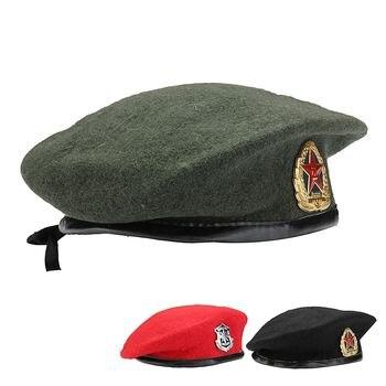 Nueva gorra militar Unisex sin insignia soldado ejército sombrero hombre mujer  lana Vintage boina gorros invierno cálido sombrero Cosplay sombreros e792651d664
