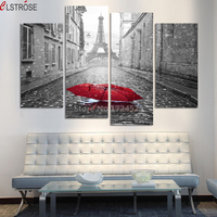 Fashion Paris Street Modern Wall Painting Printed On Canvas Beautiful Red Umbrella Wall Pictures Painting Coloring