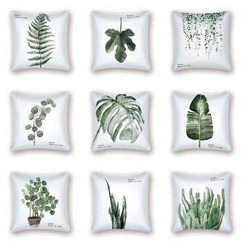 цена Green Leaf Print Cushion Set Tropical Monstera Cushion Cover Decoration Polyester Throw Pillow Nordic Home Decorative Pillowcase онлайн в 2017 году