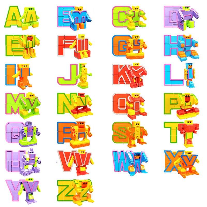 26 styles 2016 dernière offre spéciale arrivée bébé enfant jouet cadeau 26 lettres de l'alphabet Robot