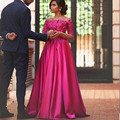 2016 Saudi Arabia Fuchsia Evening Dresses Illusion Long Sleeves Off Shoulder Appliqued A Line Satin Party Prom Formal Gowns