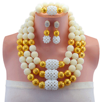 White Gold color Necklace Nigerian Wedding African Beads Jewelry Set Costume Jewelry Sets Beads Statement Necklace Women