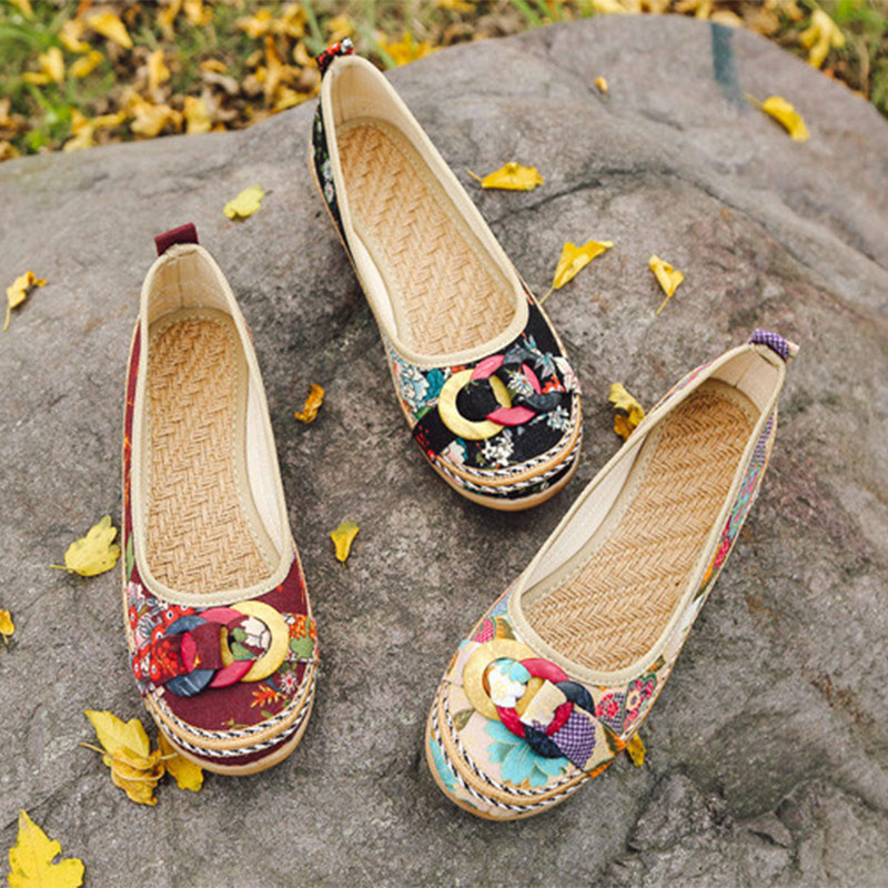 Hot Ethnic Fabric Straw Spring Autumn Ballet Flats Ladies Flower Casual Slip On Platform Loafers Female Fashion Women Shoes
