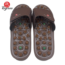 BYRIVER New Design Cool Men Women Jade Stone Acupuncture Acupoint Magnet Rotaing Foot Massage Slipper Health Shoes