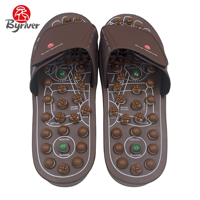 купить BYRIVER New Design Men Women Jade Stone Acupuncture Acupoint Magnet Rotaing Foot Massage Slippers Sandals Health Shoes Massager онлайн