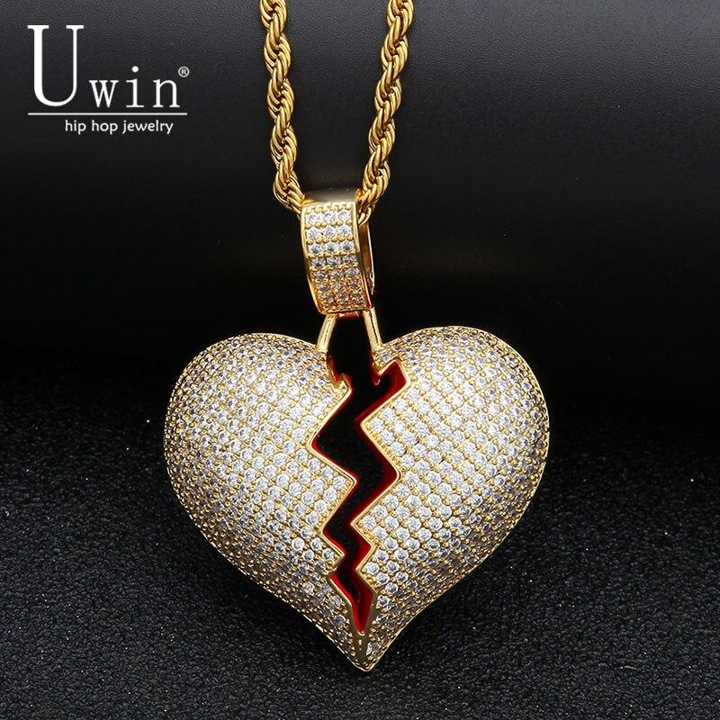 UWIN rojo el corazón quebrado collar y colgante con 4mm tenis cadena oro plata Color cúbicos Zircon hombres de las mujeres hip hop joyería forGift