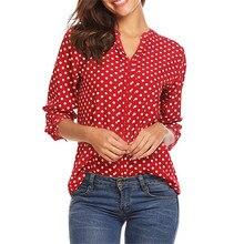 Блуза женщин blusas mujer де мода 2019 полиэфира s-формы 5XL горошек 3/4 рукав повседневный работа в офисе V-образным вырезом блузка   Z4 в аренду