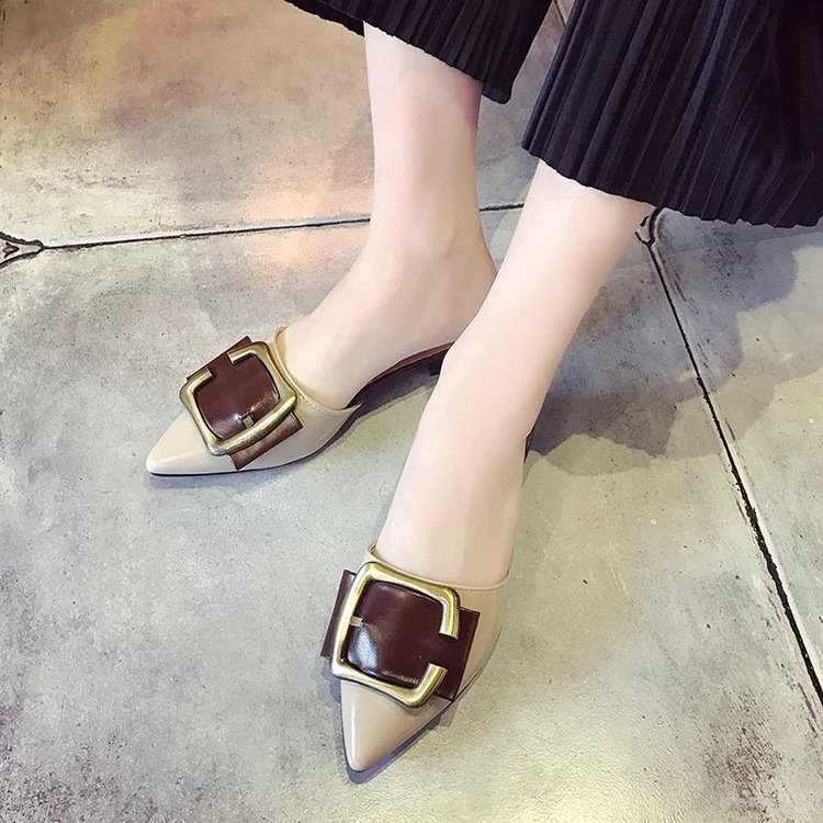 ФОТО  2017 women in the summer of the new color belt buckle with the Baotou side of the cool slippers sandals fashion shoes
