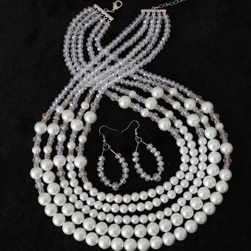 Elegant white shell simulated-pearl round beads glass crystal high grade 5 rows necklace earrrings for women jewelry set B983-20