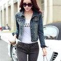 2016 Осень новый Slim fit тонкие джинсовые куртки женские короткие дизайн с длинными рукавами женщины куртка носить джинсовые пальто ретро царапин и пиджаки