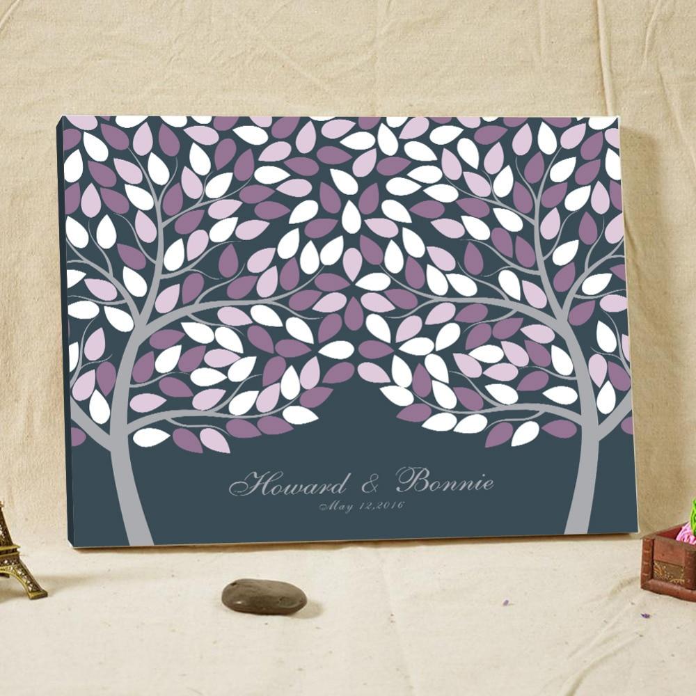 Přizpůsobené svatební strom otisků prstů Kniha návštěv Alternativní docházka Podpis knihy pro svatební sprcha Svatební Deco potřeby
