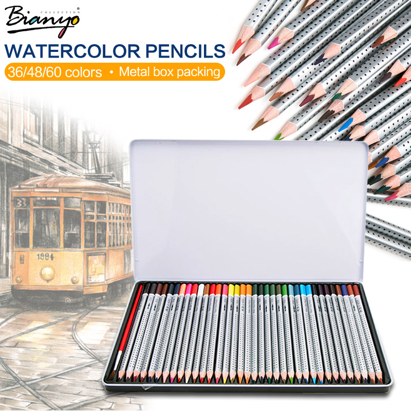 Bianyo 36 48 60 72 Colors Metal Box Watercolor Pencil lapis de cor Professional Non-toxic Lead-free Colored Pencil for Drawing 12 24 36 48 72 colors non toxic indonesia lead water soluble colored pencil watercolor pencil set for write drawing art supplies