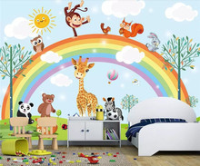 Mural wallpaper hand drawn cartoon animal rainbow children room background wall furniture decoration 3d wallpaper free shipping children s room wall painting 3d cartoon theme hotel room wallpaper boy bedroom cartoon wallpaper mural