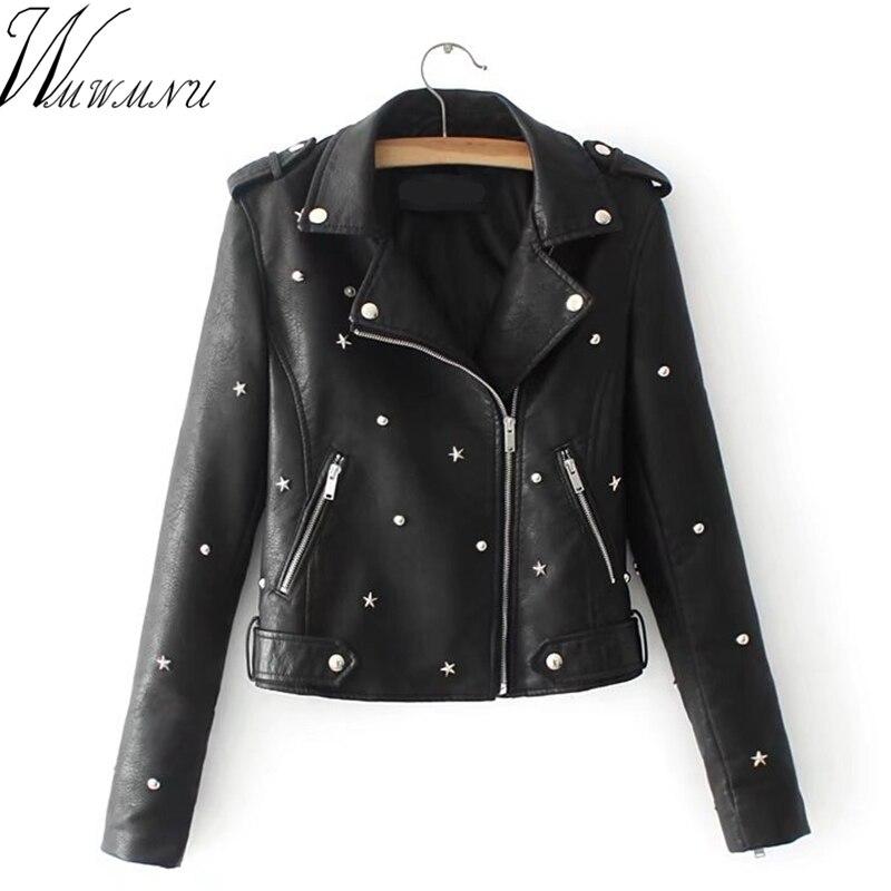 Wmwmnu 2018 Casaco Feminino fashion PU   Leather   short Jacket Rivet metallic jacket faux   Leather   Coats Women slim outerwear
