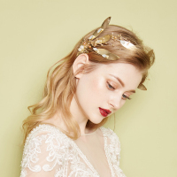 Gold Leaf Hairbands Bridal Crowns Wedding Hair Accessories Rhinestone Tiara Women Headband Pearl Girl's Party Hair Jewelry