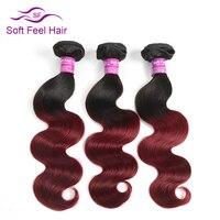 Soft Feel Hair Ombre Brazilian Body Wave Remy Hair Color T1B Burgundy 100 Human Hair Weaving