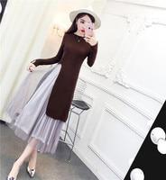 New 2017 Fashion Women dress Firm Offers A Long Sweater + Dresses Khaki Grey Black Gray 6340