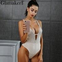 Glamaker Summer Sexy Mesh Jumpsuit Romper Women Shinny Crystal Beading Bodysuit Backless V Neck See Through