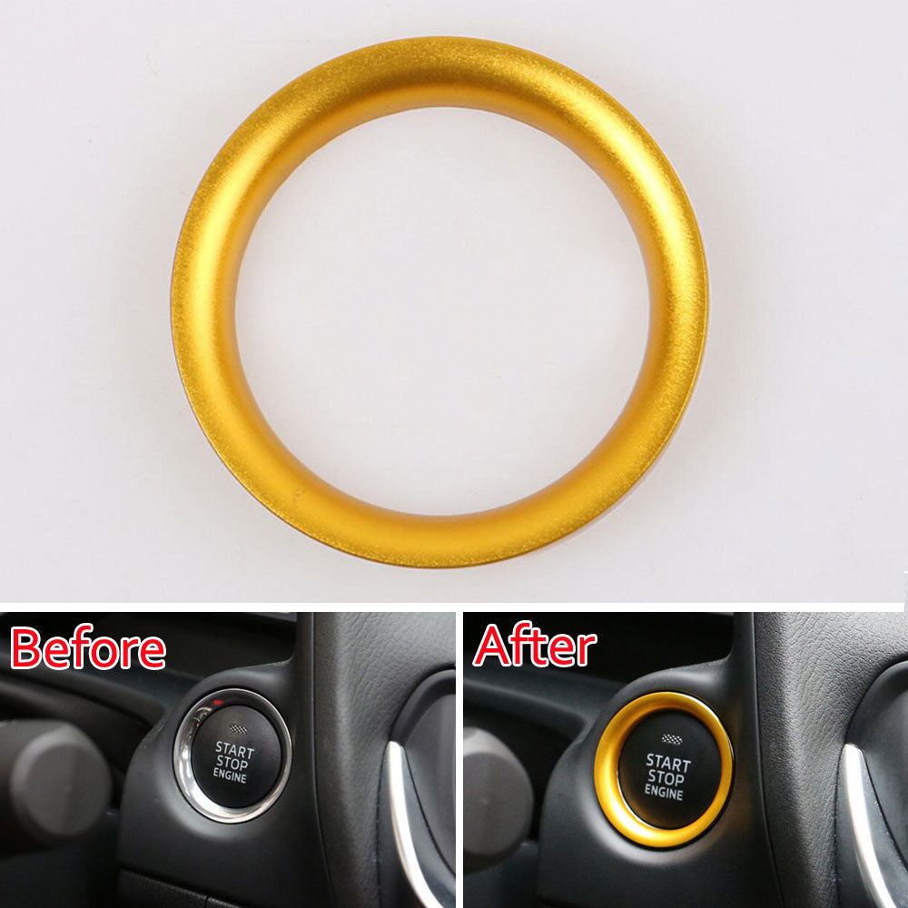 Golden/Blue/Red Car Interior Engine Start Stop Ring Push Button Decoration Trim Styling Sticker Fit For Mazda CX-5 CX-4 bjmycyy car styling car button start button decoration ring for mazda cx 5 cx5 2nd gen 2017 2018