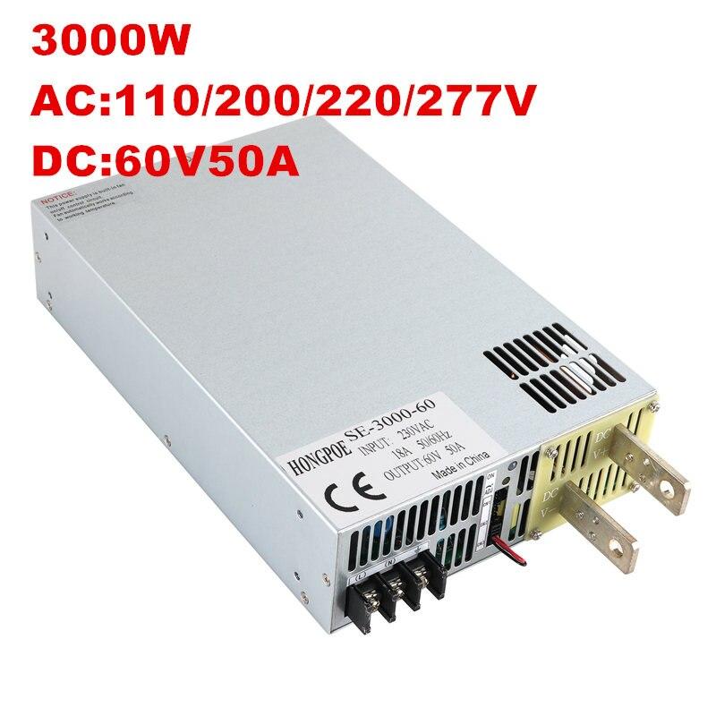 3000 W 60 V di Alimentazione 0-60 V Potenza Regolabile 60VDC AC-DC 0-5 V Segnale Analogico controllo SE-3000-60 Trasformatore di Alimentazione 60 V 50A