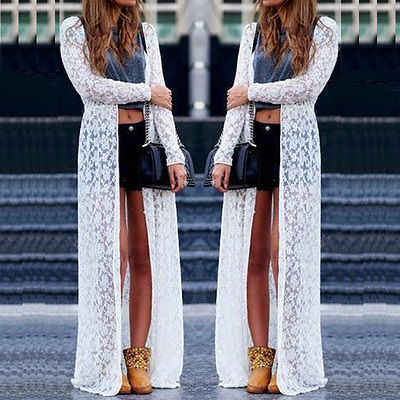 New Loose Women Boho Lace Floral Sheer Maxi Dress Long Cardigan Beach Shirt