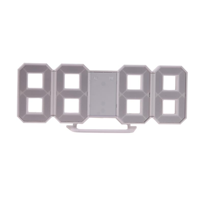 Creative 3D 4 Digital LED Table Wall Clock Timer Home Decoration Desk Alarm Snooze Alert 12/24Hour Display Novelty Lighting