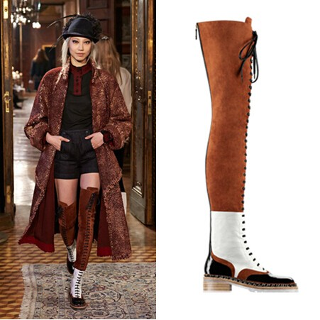 2017 Women New Style Over the Knee Fashion Boots Zip Ribbons Riding Shoes Round Toe Square Heel Patchwork Soft Leather