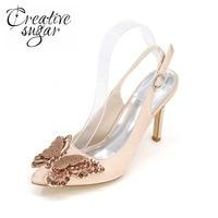 Creativesugar Sivri Burun slingback saten elbise ayakkabı ile rhinestone kelebek charm gelin düğün balo için 7 renkler