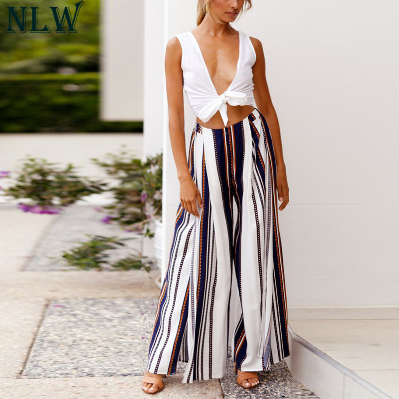 NLW White Blue Striped Wide Leg Pants High Split Loose Casual Pants 2019 Women Elegant Cool Trousers Beach Party Chic Long Pants Платье