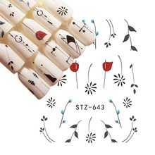 One Sheet Water Transfer Nail Art Sticker Set Black Lace Flower Leaf Decal Slider Wraps Tips Decor DIY Manicure New(China)