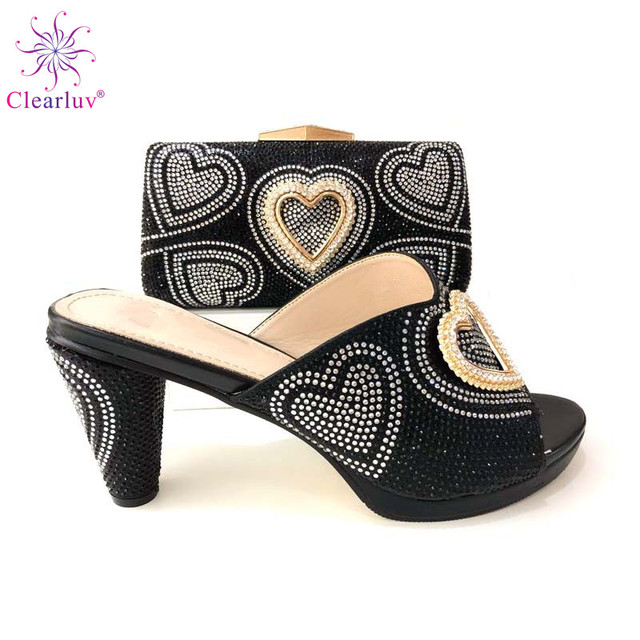 New Fashion Summer With Crystal Black Italian Shoe With Matching Bag  African High Heel Women Shoes and Bag Set For Wedding Party f33476c13aad