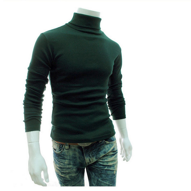 New Turtleneck Solid Color Casual Sweater Slim Fit Brand Knitted Pullovers 5