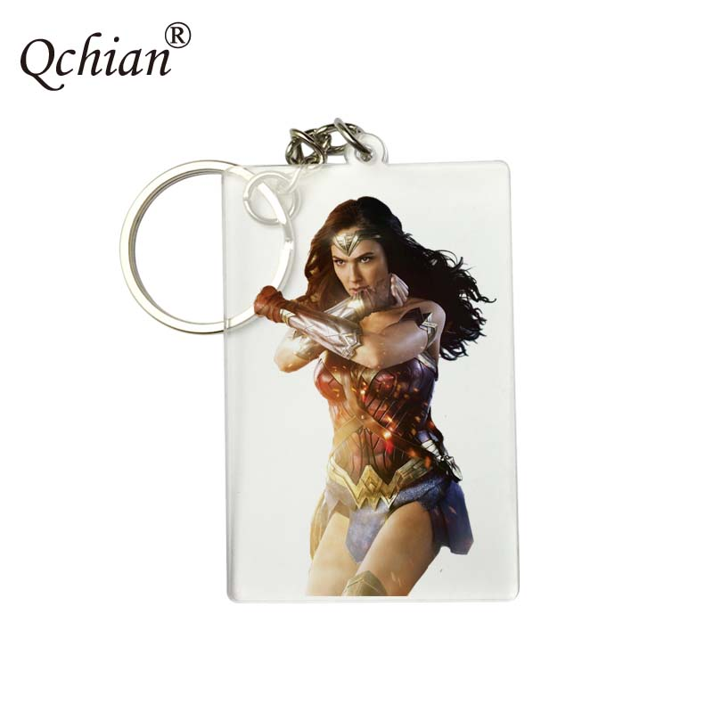 Movie Wonder Woman Keychain for Men Women Wonder Woman Print Key Chains Ring Holder Charm Jewelry drop-shipping