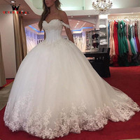 Custom Made Ball Gown Sweetheart Fluffy Lace Sequins Luxury Bride Wedding Dresses Wedding Gown 2018 New Vestidos De Novia WS21M