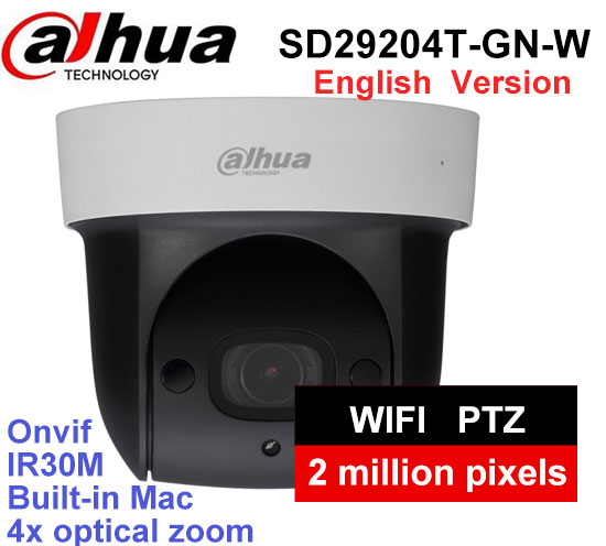 Dahua English version SD29204T-GN-W replace SD29204S-GN-W 2Mp Network WIFI PTZ IP Speed Dome Camera DH-SD29204T-GN-W with logo dahua sd29204t gn w 2mp mini ir ptz wifi ip speed dome new version english firmware wdr day night 2 7mm 11mm focal length