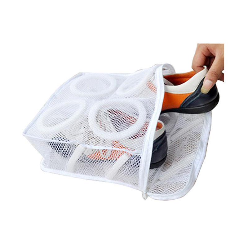 Delicate Household Mesh Laundry Shoes Footwear Wash And Dry Bag Pouch Zipper Cleaning Socks Organiserlazy Wash Shoes Artifact
