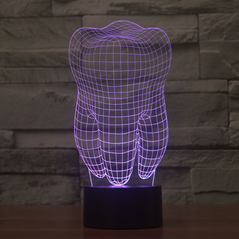 Novelty 3D Tooth Lamp Touch Led Nightlight 7 Color Changing Table ...