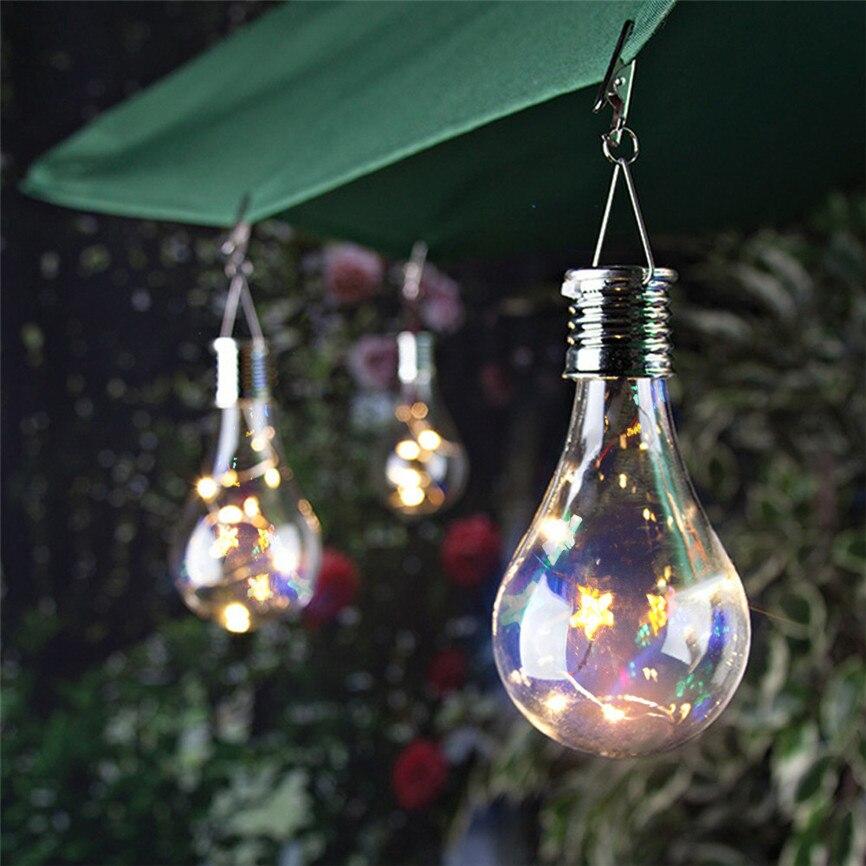 Bombilla Impermeable Solar para Jardín Camping Colgante LED Luz Lámpara AA