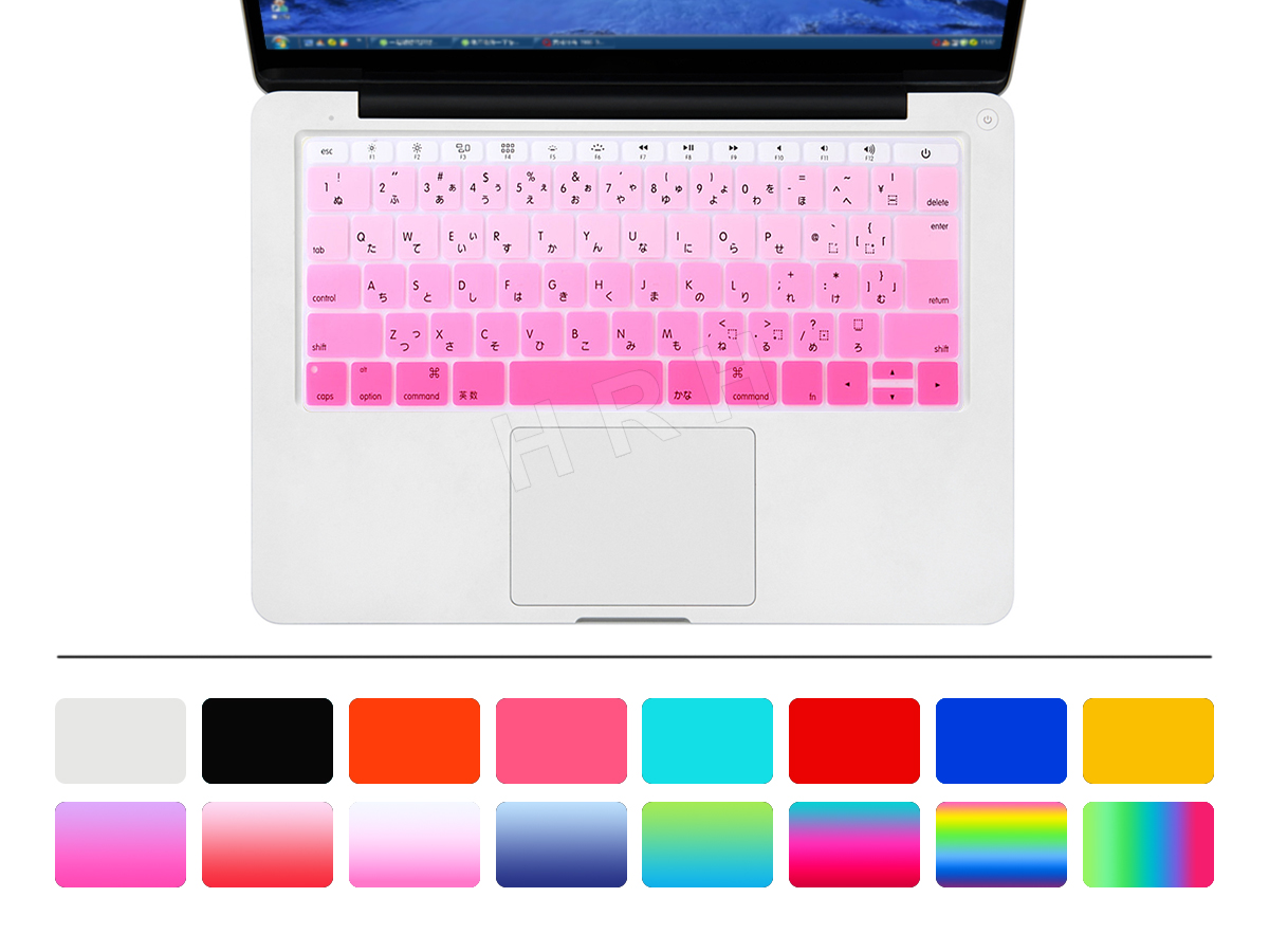 50pcs Gradient Rainbow Japanese Silicone Keyboard Cover Skin for New Macbook Pro 13 A1708 (2016 No Touch Bar) for Mac 12 A1534