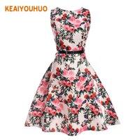 2017 New Girl Dress Summer Kids Vest Dress Floral Print Girl Princess Dresses Teenager 2 20