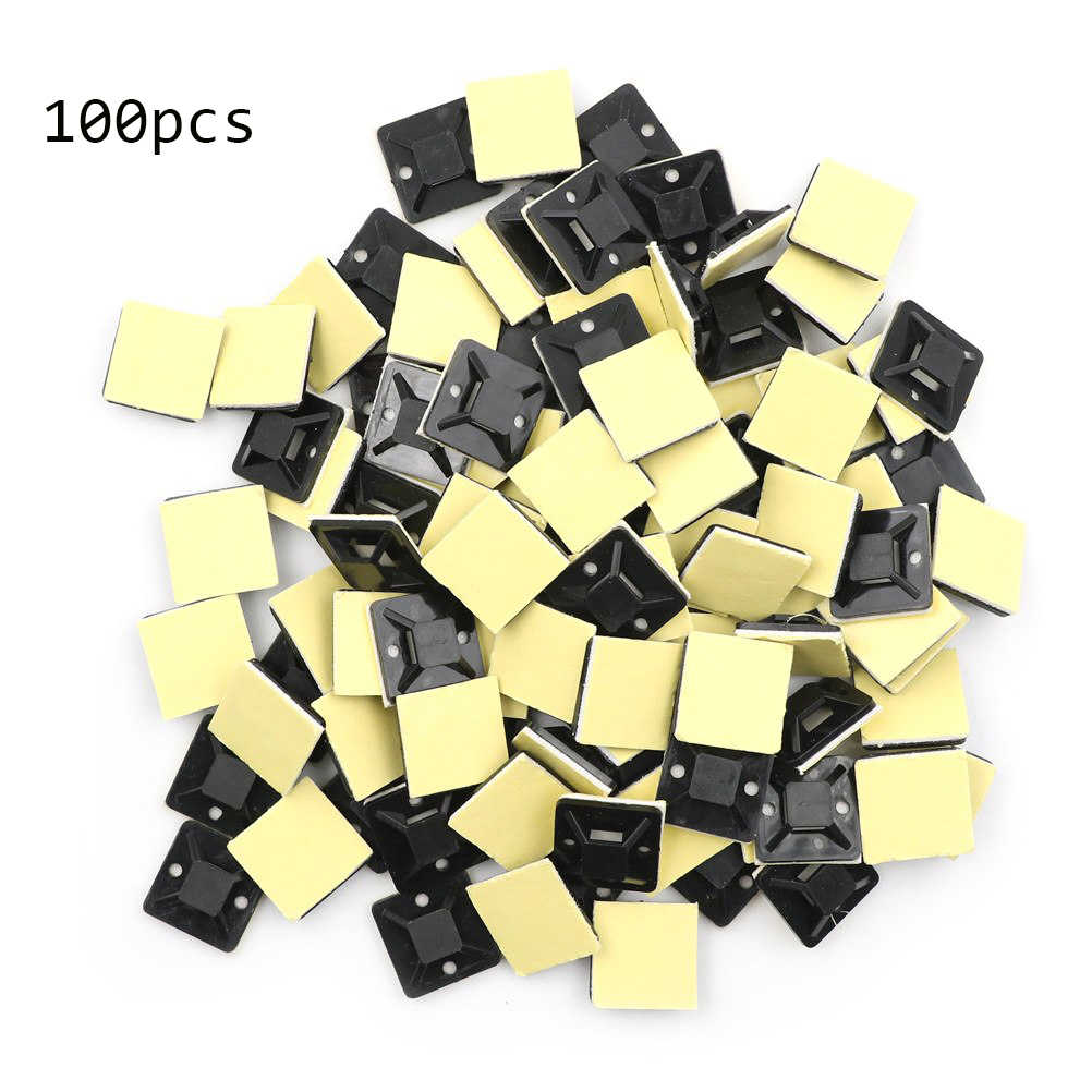 100Pcs Self Adhesive Stick-on Mounts For Cable Ties / Routing Looms Wire & Cable Base Clamps Clip