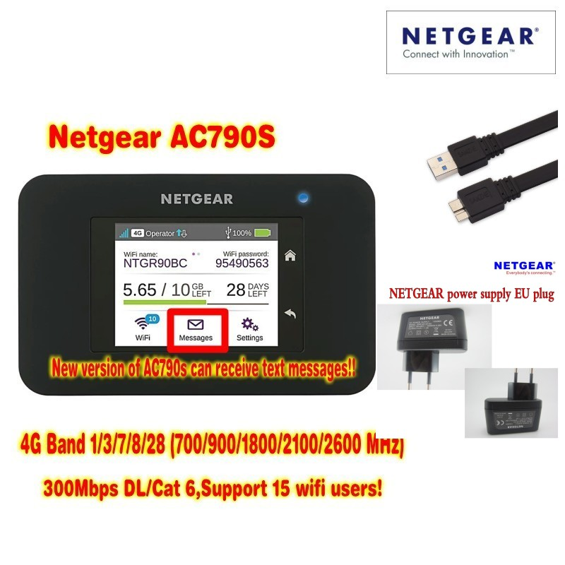 ,Dhl delivery,Lot of 10pcs unlocked cat6 300mbps netgear 790s AC790S Aircard  4G LTE pocket wifi router plus 2pcs antenna литой диск replica legeartis concept b505 8x18 5x112 d66 6 et30 mbps
