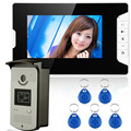 "Free Shipping 7"" LCD Wired Video Door Phone Intercom + CMOS Night Vision Camera with RFID Door Access Control System"