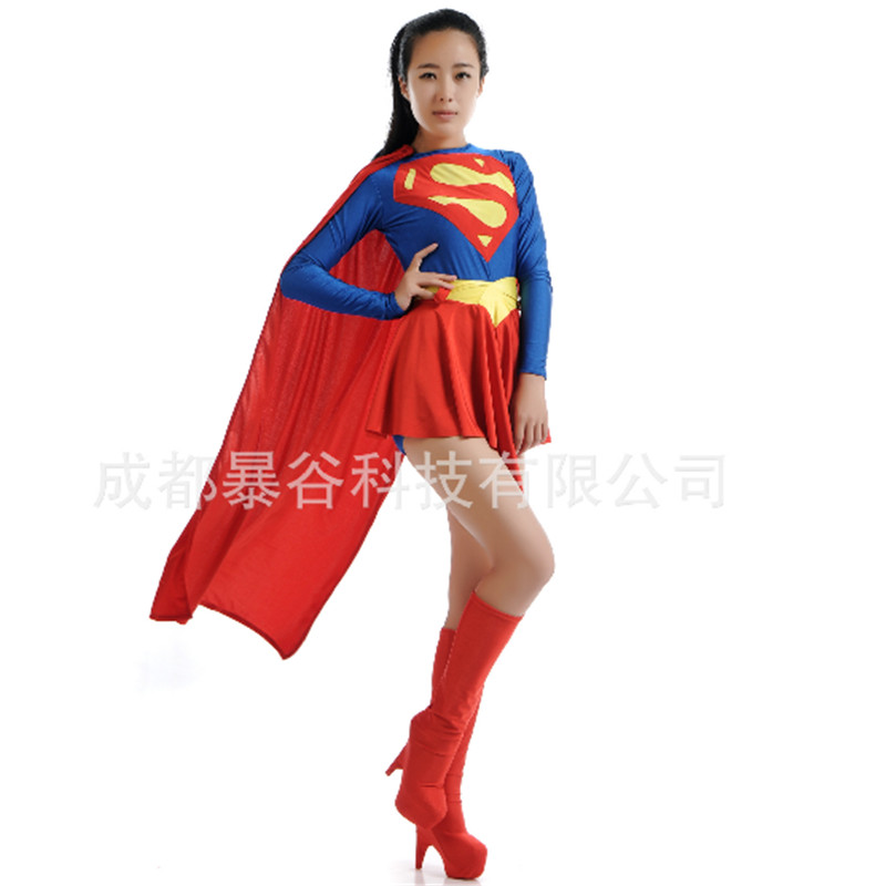 2016 high quality sexy supergirl costume blue and red spandex superhero cosplay dress party games halloween costumes for women - High Quality Womens Halloween Costumes